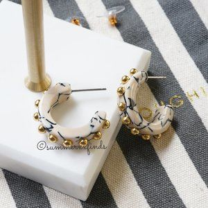 Lele Sadoughi Studded Block Hoop Earrings
